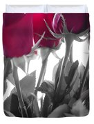 Red Rose Color Block Duvet Cover