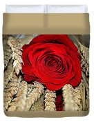 Red Rose On A Bed Of Wheat Duvet Cover
