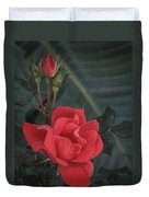 Red Rose With Bud Duvet Cover