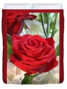 Red Rose With Garden Background  Duvet Cover