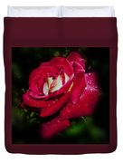 Red Rose With Water Drops Duvet Cover