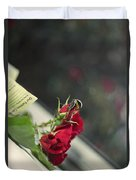 Red Roses And Visitor Duvet Cover