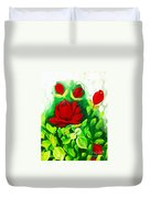 Red Roses From The Garden Impression Duvet Cover