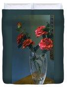 Red Roses In A Vase Duvet Cover