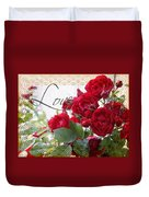 Red Roses Love And Lace Duvet Cover
