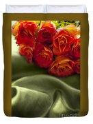 Red Roses On Green Silk Duvet Cover