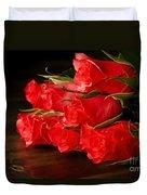 Red Roses On Wood Floor Duvet Cover