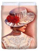 Red Roses Satin Hat Duvet Cover