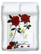Red Roses Yellow Buds Duvet Cover