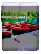 Red Rowboats Dock Lake Enhanced Iv Duvet Cover