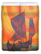 Red Sails In The Sunset Duvet Cover by Tracey Harrington-Simpson