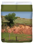 Red Sandstone Hillside With Grass Duvet Cover