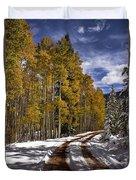 Red Sandstone Road In October Duvet Cover