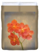 Red Scarlet Orchid On Grunge Duvet Cover by Rudy Umans