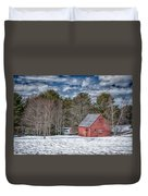 Red Shed In Maine Duvet Cover by Guy Whiteley