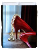 Red Shoes And Pearls Duvet Cover