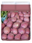 Red Skin Potatoes Stall Display Duvet Cover by JPLDesigns