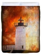 Red Sky At Morning - Nubble Lighthouse Duvet Cover