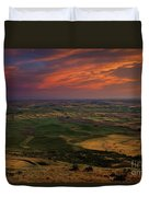 Red Sky Over The Palouse Duvet Cover