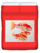 Red Snapper Family Painted Duvet Cover