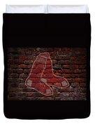 Red Sox Baseball Graffiti On Brick  Duvet Cover