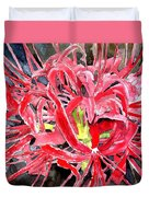 Red Spider Lily Flower Painting Duvet Cover