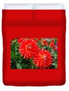 Red Spikey Flowers Duvet Cover