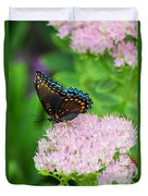Red Spotted Admiral On Sedum - Vertical Duvet Cover