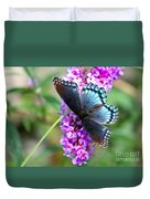 Red Spotted Purple Butterfly On Butterfly Bush Duvet Cover