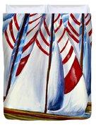 Red Stripe Sails Duvet Cover