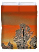 Red Sunset With Trees Duvet Cover