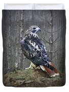 Red Tailed Hawk Perched On A Rock Duvet Cover