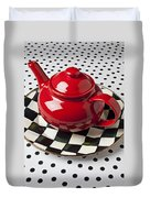 Red Teapot On Checkerboard Plate Duvet Cover