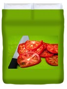 Red Tomato Slices And Knife On Green Chopping Board Duvet Cover