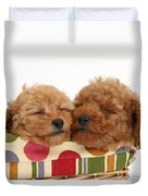 Red Toy Poodle Puppies Duvet Cover