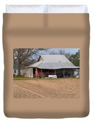 Red Tractor In A Tin Roofed Shed Duvet Cover