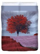 Red Tree In A Field Duvet Cover