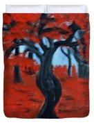Red Trees Duvet Cover