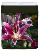 Red Tropical Flowers Duvet Cover