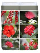 Red Tropicals Collage Duvet Cover