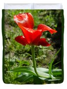 Red Tulip On The Green Background Duvet Cover