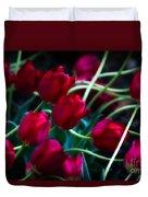 Red Tulip River Duvet Cover