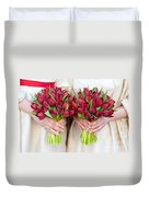 Red Tulip Weddding Bouquets Duvet Cover