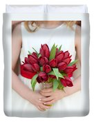 Red Tulip Wedding Bouquet Duvet Cover