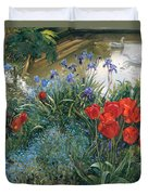 Red Tulips And Geese  Duvet Cover