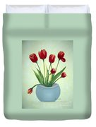 Red Tulips In A Pot Duvet Cover