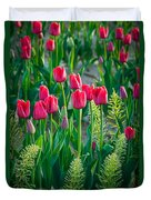 Red Tulips In Skagit Valley Duvet Cover