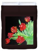 Red Tulips In Vase Duvet Cover