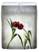 Red Tulips On A Letter Duvet Cover