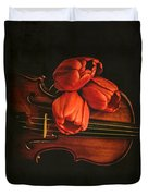 Red Tulips On A Violin Duvet Cover